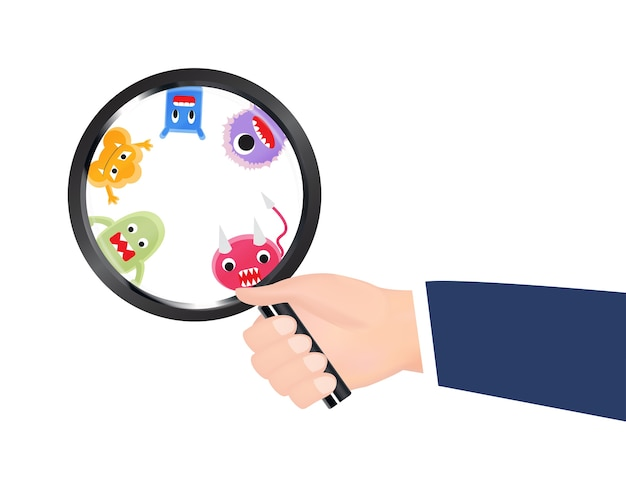 Hand hold magnify glass found virus Premium Vector