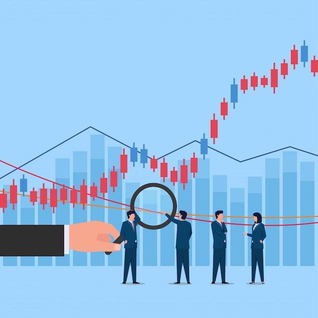 Удержание руки увеличивает график фондовой торговли, и люди обсуждают это. Premium векторы