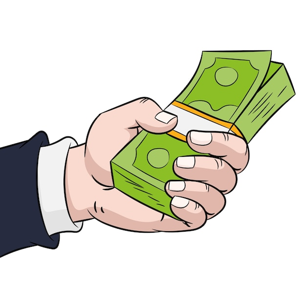 Hand hold money Premium Vector
