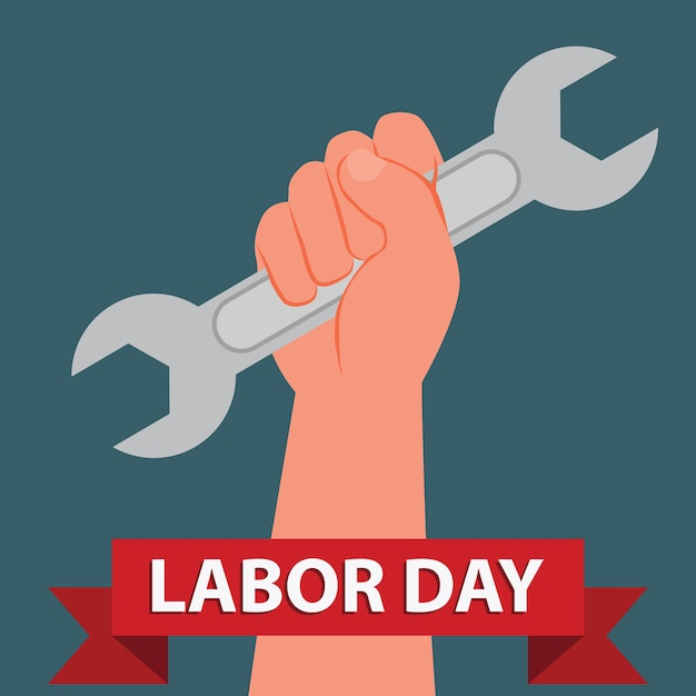 Hand hold spanner wrench international labor day Premium Vector