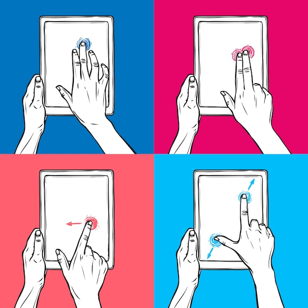 Hand hold tablet Free Vector