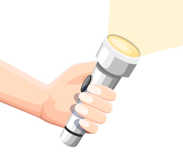 Hand hold white shining flashlight. metal flashlight with on off button. flat illustration isolated on white background. Premium Vector
