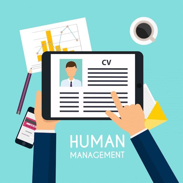 Cv履歴書とデジタルタブレットを持っている手。就職の面接のコンセプトです。履歴書を書く。 Premiumベクター