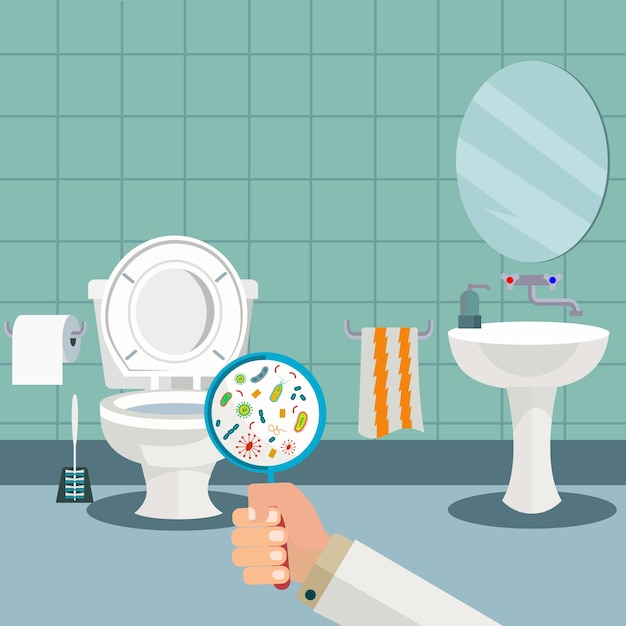 Hand holding a magnifying glass showing bacteria in the toilet, wc ...