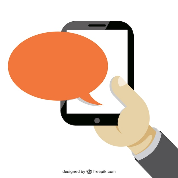 Hand holding a smartphone and orange speech bubble Vector ...