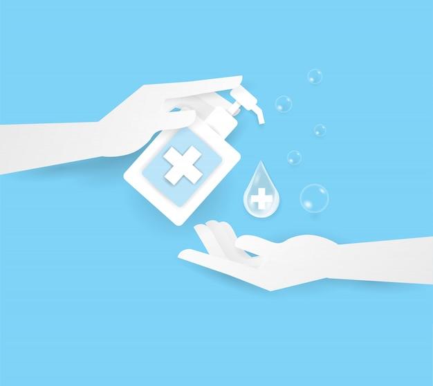 瓶の上の2つの人間の手でアルコールまたはスープを持っている手、手を洗います。 Premiumベクター
