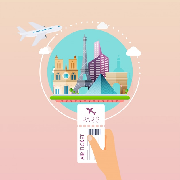 Hand holding boarding pass at airport to paris. traveling on airplane, planning a summer vacation, tourism and journey objects and passenger luggage.   modern  illustration concept. Premium Vector