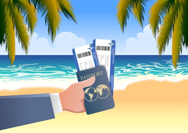 Hand holding boarding pass and passport in seaside vacation beach background Premium Vector