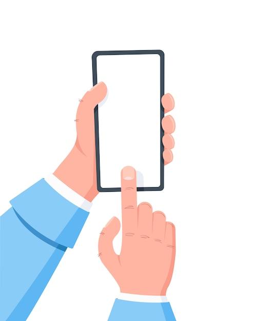携帯電話を持っている手、指が画面をクリックします。モバイルスマートフォンの使用。 Premiumベクター