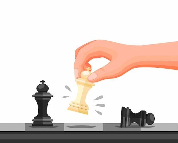 Hand holding chess piece, chess strategy game checkmate symbol. concept in cartoon illustration   isolated in white background Premium Vector