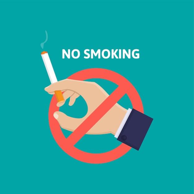 Рука держит сигарету и знак остановки, бросает курить плоский дизайн иллюстрации Premium векторы