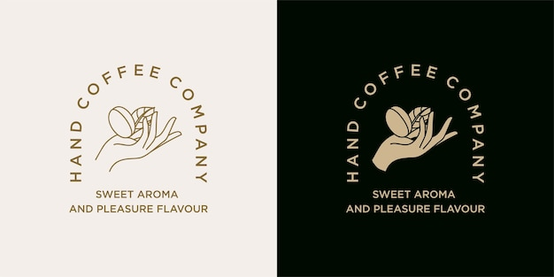 Hand holding coffee bean logo illustration template for coffee shop  cafe beverages brand Premium Vector