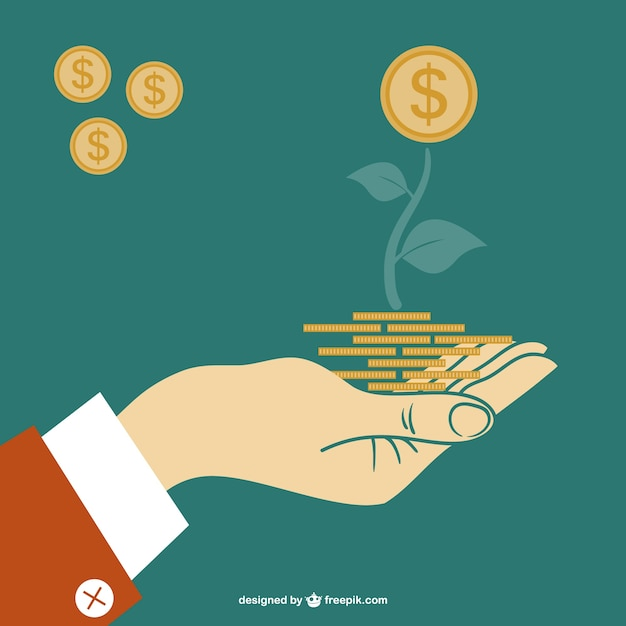 Hand holding a coin plant Free Vector