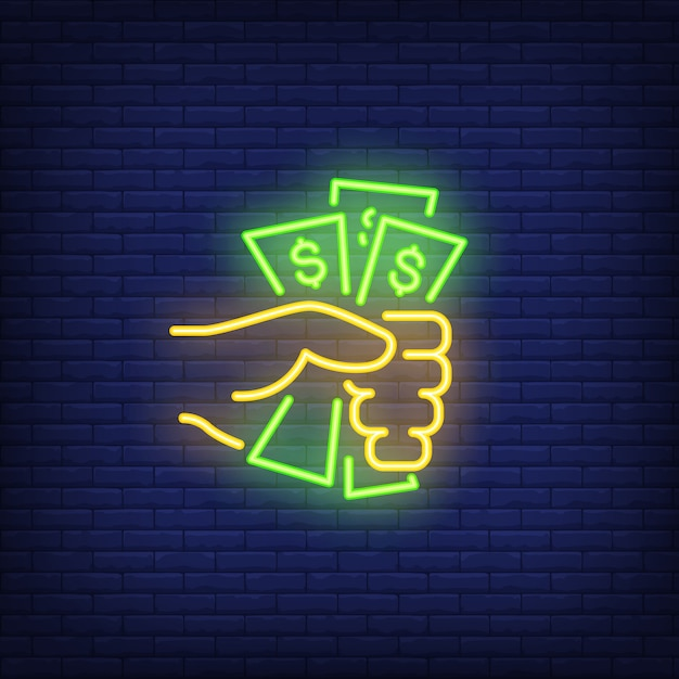 Hand holding dollar bills neon sign Free Vector