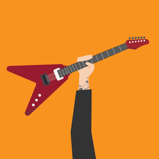 Hand Holding Electric Guitar Illustration Vector Premium Download