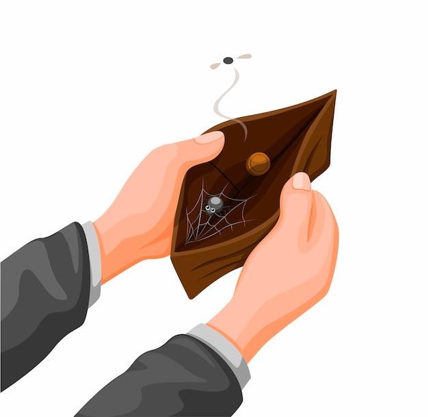 コインとwebスパイダーが入った空の財布を持っている手。漫画イラストベクトルの財政問題 Premiumベクター