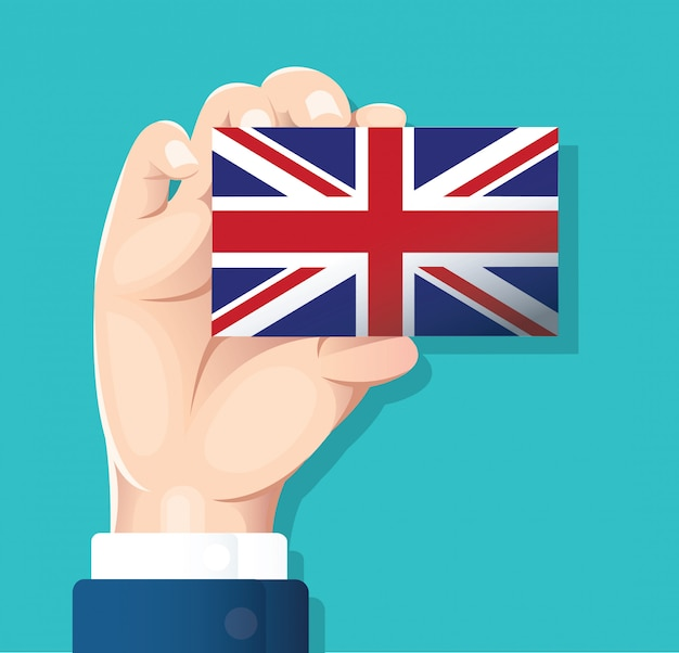Hand holding england flag card Premium Vector
