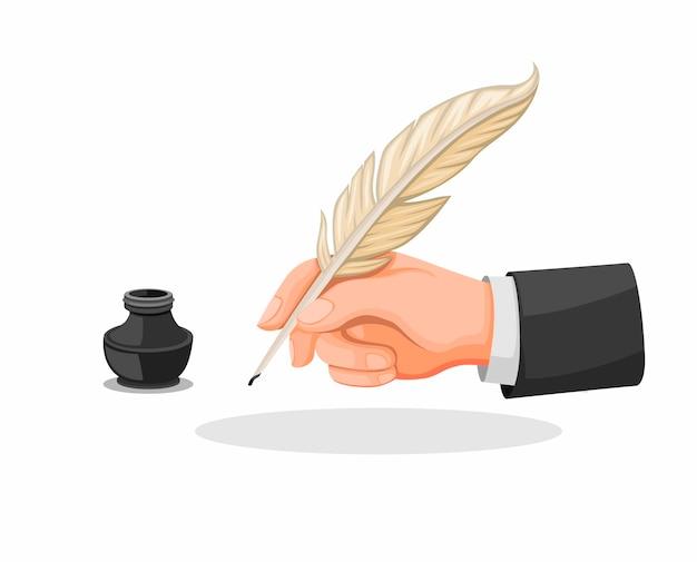 白い背景で分離された漫画イラストで設定手持ち株の羽ペンとインクもシンボルアイコン Premiumベクター