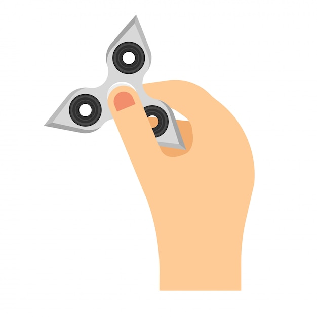 Hand holding fidget spinner toy. flat style vector illustration Premium Vector
