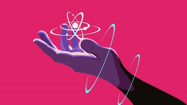 A hand holding a floating atom. Premium Vector