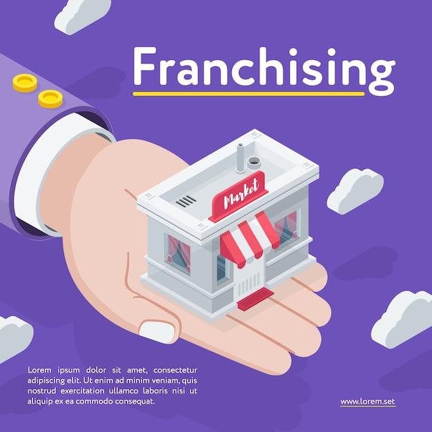 Hand holding franchising store Premium Vector