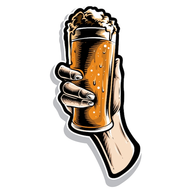 Hand holding glass of beer Premium Vector