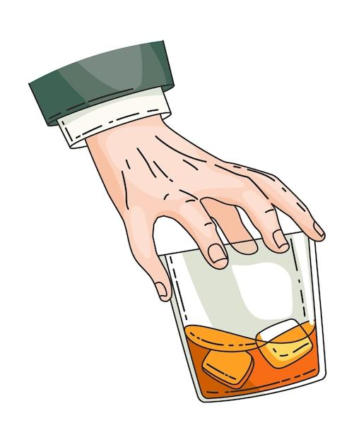 強い飲み物ウイスキーとグラスを持っている手。ヴィンテージ手描きイラスト。テキーラまたはウイスキーを飲み、飲み物の酒を手に。透明な背景に分離された氷とウイスキーのガラス。 Premiumベクター