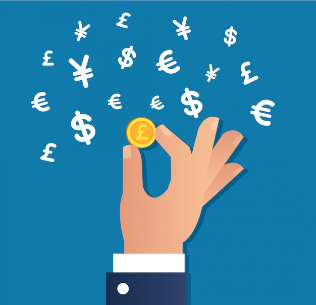 Hand holding gold coin and money icon Premium Vector