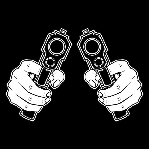 Hand holding a gun Premium Vector