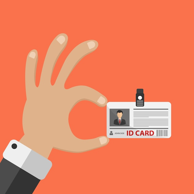 Hand holding ID card Free Vector