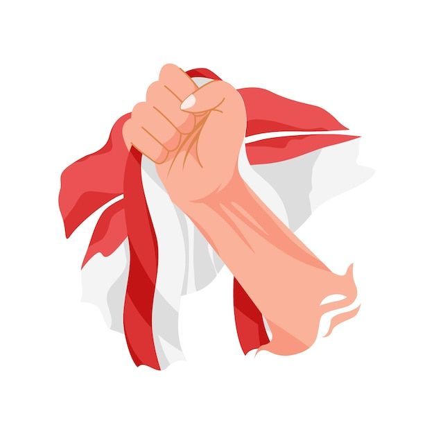 Hand holding indonesian flag. celebrating youth pledge day Premium Vector