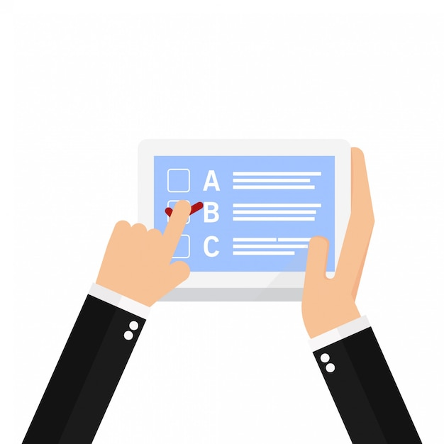 Hand holding laptop with finger pointing at checklist on it Premium Vector