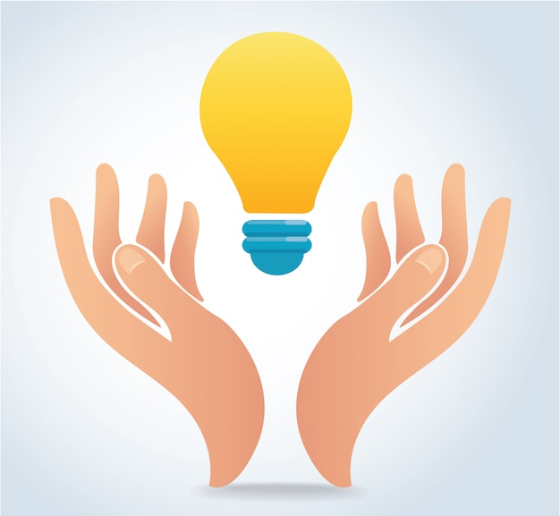 Hand holding light bulb vector Premium Vector
