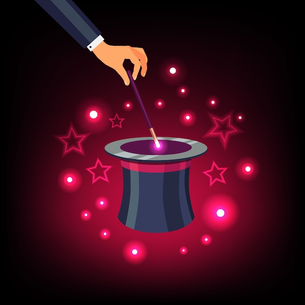 Hand holding magic wand over a magical top hat Free Vector