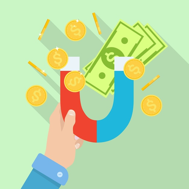 Hand holding magnet with money, coins. attraction cash. Premium Vector