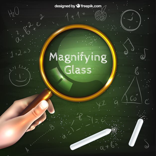 Hand holding magnifying glass background in realistic style Free Vector