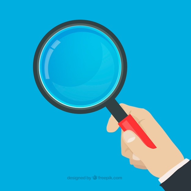 Hand holding magnifying glass in flat style Free Vector