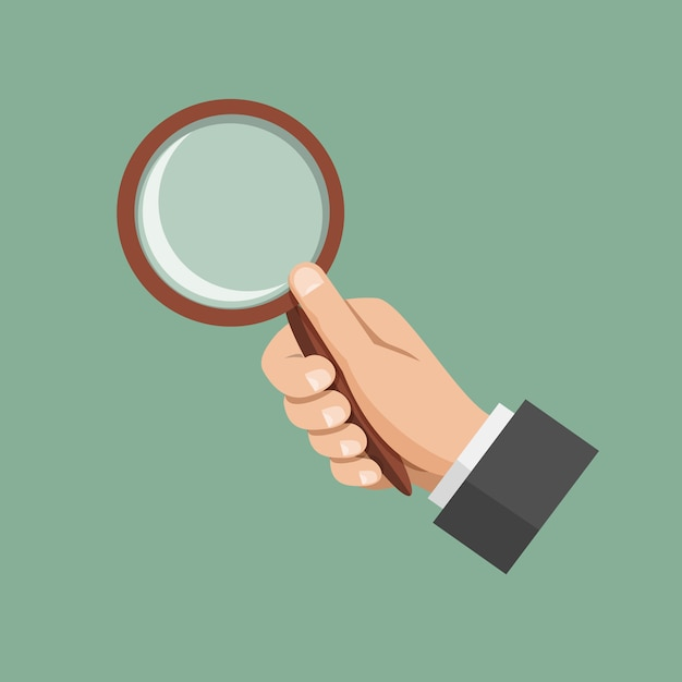 Hand holding a magnifying glass retro colors Premium Vector