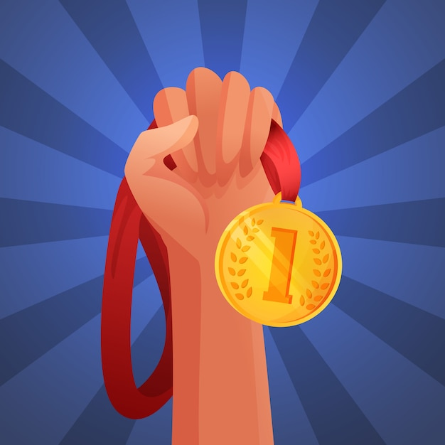 Hand holding medal Free Vector