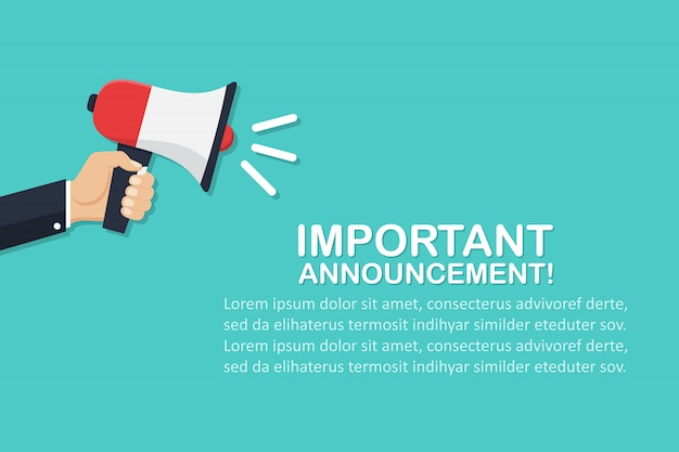 Hand holding megaphone with important announcement in a flat design Premium Vector