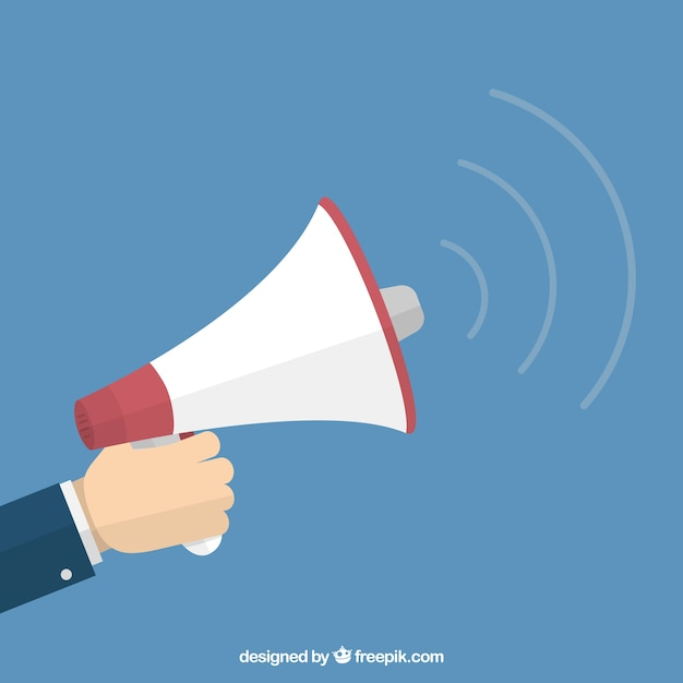 Hand holding a megaphone Free Vector