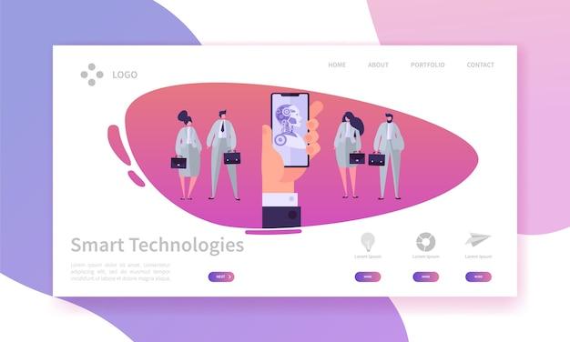 携帯電話のコンセプトのランディングページを持っています。ボットスマートテクノロジー。エンジニアリング対ビジネスマン。人工知能の概念のwebサイトまたはwebページ。フラット漫画ベクトルイラスト。 Premiumベクター