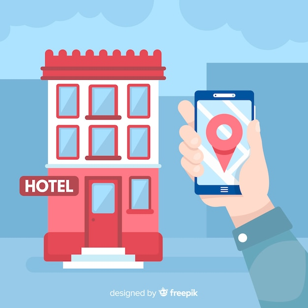 Hand holding mobile phone hotel booking background Free Vector