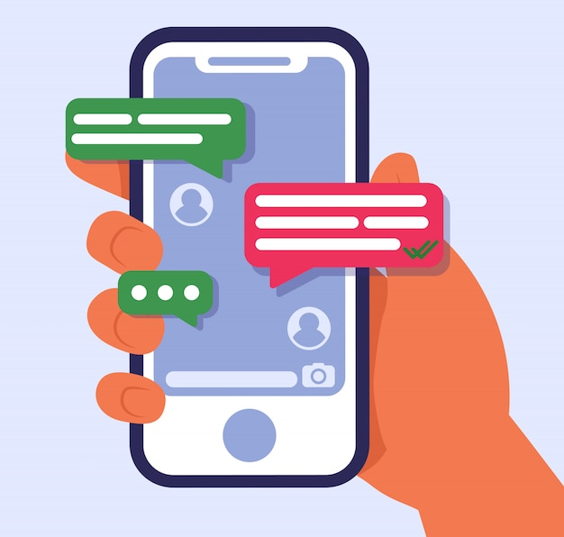 Рука держит мобильный телефон с текстовыми сообщениями Бесплатные векторы