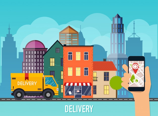 Hand holding mobile smart phone with app delivery tracking.  modern  creative info graphics  on  application. Premium Vector