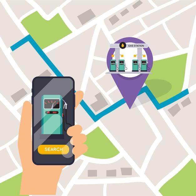Рука мобильный смартфон с азс поиска приложений. найдите ближайший на карте города. Premium векторы