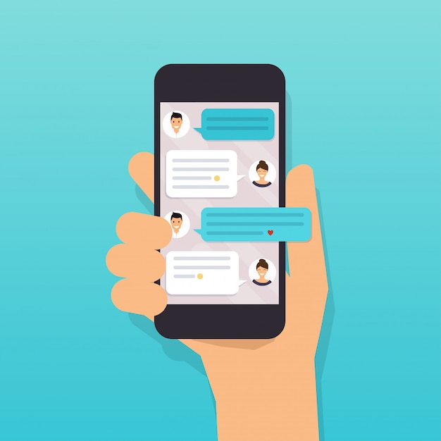 Hand holding mobile smart phone with text message. Premium Vector