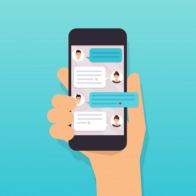 Рука мобильный смартфон с текстовым сообщением. Premium векторы