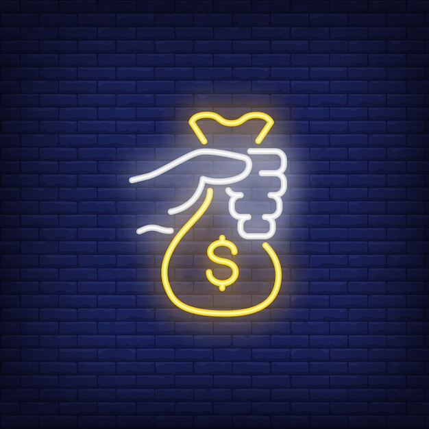 Hand holding money bag neon sign Free Vector