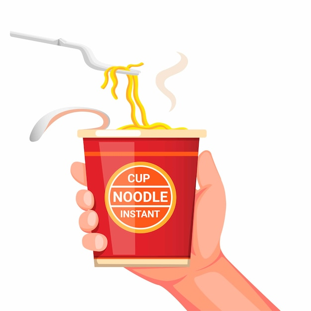 Hand holding noodle instant cup with plastic fork ready to eat. concept cartoon realistic illustration  isolated in white background Premium Vector